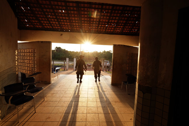 The Guardians of the Forest use a school house as a base in Araribóia Indigenous Reserve, Maranhão, Brazil on August 8, 2015. (Photo by Bonnie Jo Mount/The Washington Post)