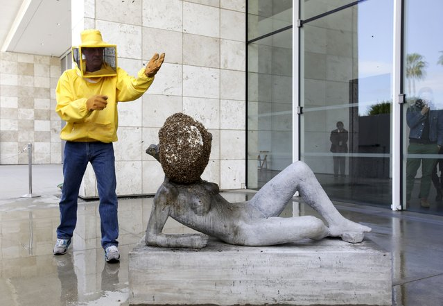 """Beekeeper Adam Novicki (L) monitors the bees on the art piece """"Untilled (Liegender Frauenakt)"""", a concrete figure featuring a beehive with approximately 15,000 bees, during a press preview of French artist Pierre Huyghe's first major retrospective at the Los Angeles County Museum of Art (LACMA) in Los Angeles, California November 19, 2014. The exhibition features approximately 60 works from the past 25 years. (Photo by Jason Redmond/Reuters)"""