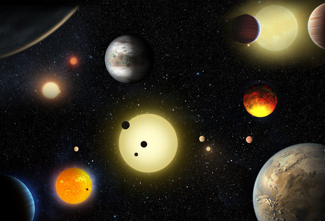 An artist's concept depicts select planetary discoveries made so far by NASA's Kepler space telescope. Astronomers have discovered 1,284 more planets beyond our solar system, with nine possibly in orbits suitable for surface water that could bolster the prospects of supporting life. (Photo by Courtesy W. Stenzel/Reuters/NASA)