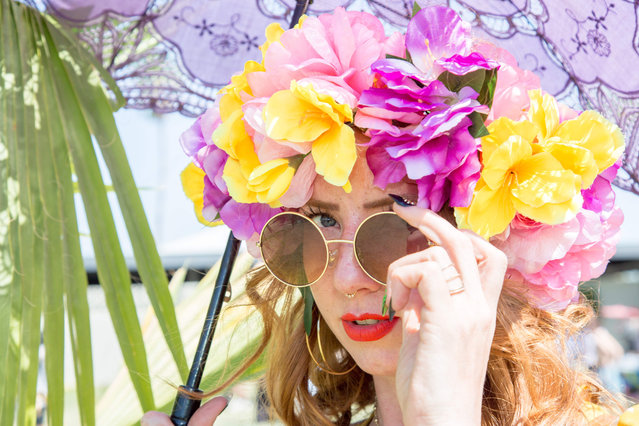 Hillary Osgood of Los Angeles, California, poses at the Coachella Music and Arts Festival in Indio, California, April 14, 2018. (Photo by Kyle Grillot/AFP Photo)