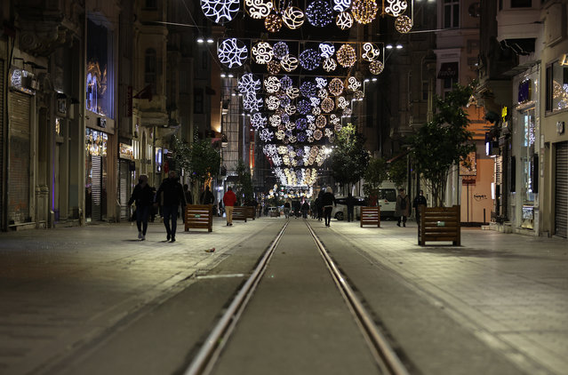 A view of Istiklal Street as streets remain quiet after a general weekend-long curfew imposed from Friday 9 p.m. to Monday 5 a.m. local time within new measures against a second wave of the COVID-19 pandemic, in Istanbul, Turkey on December 25, 2020. (Photo by Esra Bilgin/Anadolu Agency via Getty Images)