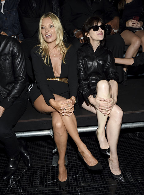 Model Kate Moss, left, and actress Charlotte Gainsbourg attend the Saint Laurent Spring/Summer 2019 Menswear Collection at Liberty State Park on Wednesday, June 6, 2018, in Jersey City, N.J. (Photo by Evan Agostini/Invision/AP Photo)