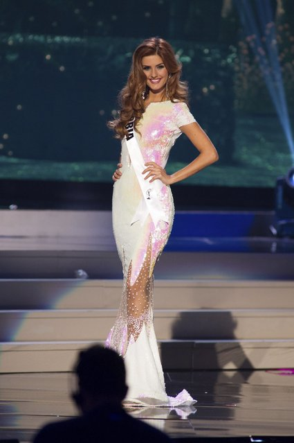Andjelka Tomasevic, Miss Serbia 2014 competes on stage in her evening gown during the Miss Universe Preliminary Show in Miami, Florida in this January 21, 2015 handout photo. (Photo by Reuters/Miss Universe Organization)