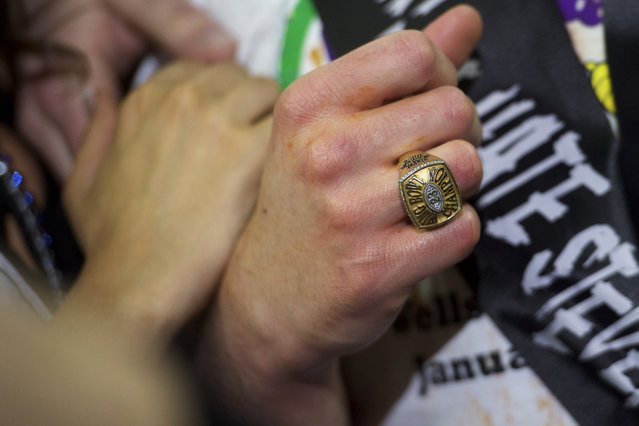 """The victory ring of Patrick """"Deep Dish"""" Bertoletti is seen after he won the 23rd annual Wing Bowl at the Wells Fargo Center in Philadelphia, Pennsylvania January 30, 2015. (Photo by Mark Makela/Reuters)"""
