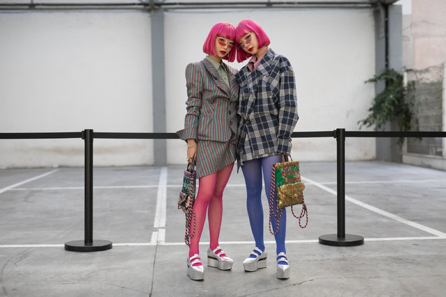 The music duo Amiaya are seen on the street during Paris Fashion Week SS19 wearing Vivienne Westwood on September 29, 2018 in Paris, France. (Photo by Matthew Sperzel/Getty Images)