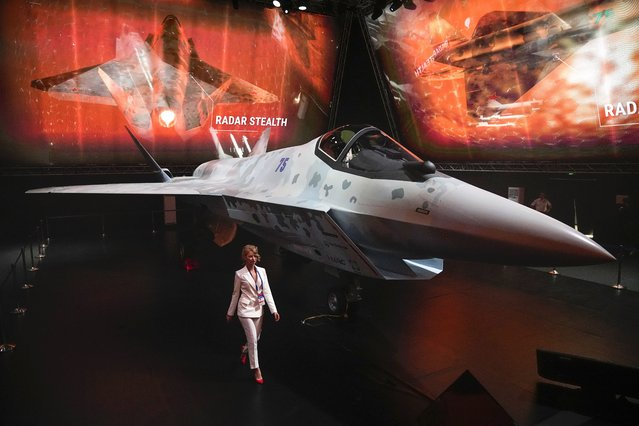 A prototype of Russia's prospective fighter jet is displayed at the MAKS-2021 International Aviation and Space Salon in Zhukovsky outside Zhukovsky, Russia, Tuesday, July 20, 2021. Russia has presented a prototype of a new fighter jet that features stealth capabilities and other advanced characteristics and will be offered to foreign customers. Russian President Vladimir Putin inspected the new warplane displayed at the MAKS-2021 International Aviation and Space Salon. (Photo by Alexander Zemlianichenko/Pool via AP Photo)