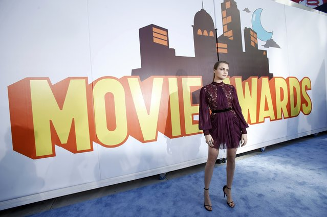 Model Cara Delevingne arrives at the 2015 MTV Movie Awards in Los Angeles, California April 12, 2015. (Photo by Mario Anzuoni/Reuters)