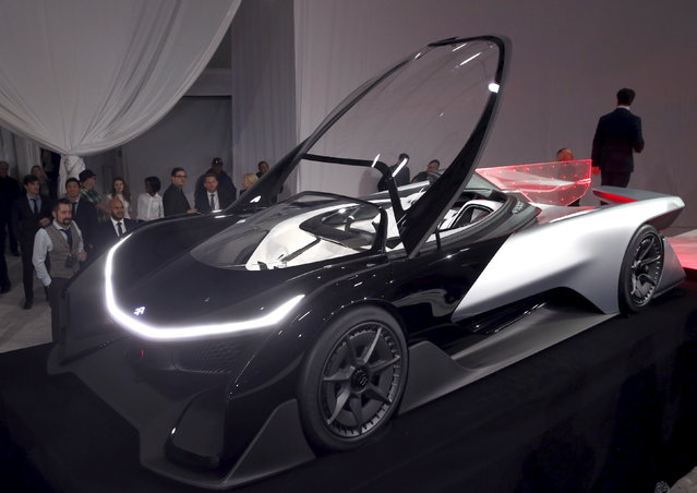 The Faraday Future FFZERO1 electric concept car is shown after an unveiling at a news conference in Las Vegas Tuesday, January 5, 2016. (Photo by Steve Marcus/Reuters)