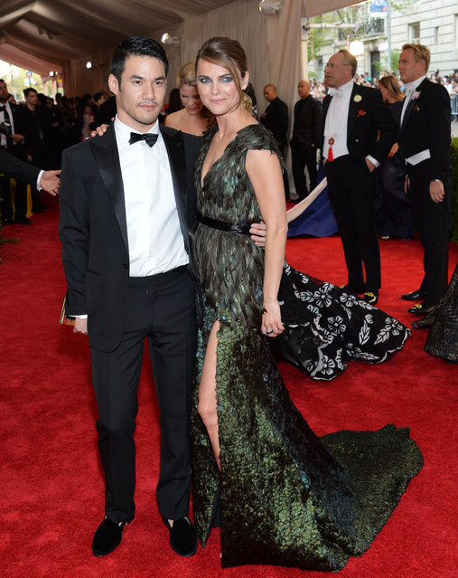 "Designer Joseph Altuzarra and Keri Russell arrive at The Metropolitan Museum of Art's Costume Institute benefit gala celebrating ""China: Through the Looking Glass"" on Monday, May 4, 2015, in New York. (Photo by Evan Agostini/Invision/AP Photo)"