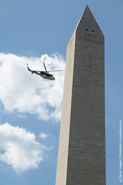 Washington Monument after a 5.8 magnitude earthquake