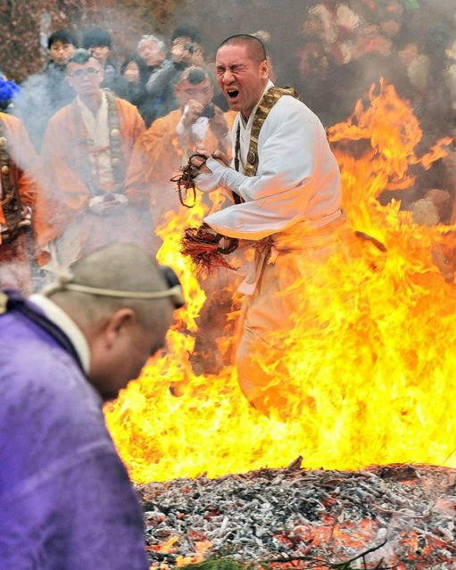 A Buddhist devotee dashes barefoot through flames during the Nagatoro Hi-Matsuri, or fire walking festival, to herald the coming of spring at the Fudoji temple in Nagatoro town, Saitama prefecture on March 2, 2014. Believers joined the fire walking ritual to purify the mind and body and to pray for safety. (Photo by Kazuhiro Nogi/AFP Photo)