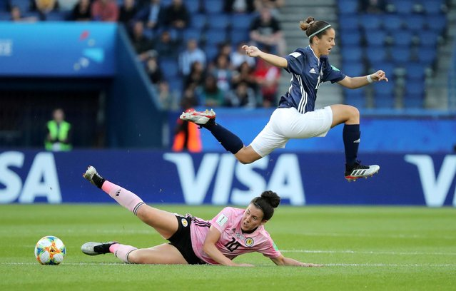 Argentina's Mariana Larroquette in action with Scotland's Leanne Crichton during the 2019 FIFA Women's World Cup France group D match between Scotland and Argentina at Parc des Princes stadium on June 19, 2019 in Paris, France. (Photo by Lucy Nicholson/Reuters)