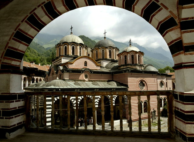 Rila Monastery: A general view of the main church at the Rila Monastery, southwest from Sofia on June 18, 2003. Rila Monastery, the biggest Bulgarian monastery was founded in the l0th century by the Bulgarian monk St. John of Rila and was rebuilt in the l3th -l4th century. In the l5th century, when Bulgaria fell to the Ottoman Turks, the monastery was abandoned for a short time but in the second half of the same century it was restored to a new life. (Photo by Oleg Popov/Reuters)