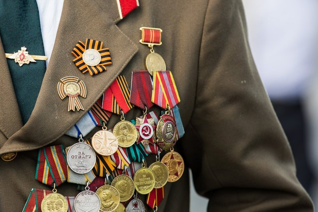 Medals and ribbons adorn the uniform of a Russian veteran who attended the Victory Day parade in Moscow, Russia, May 9, 2016. (Photo by Bai Xueqi/Xinhua via Newscom)