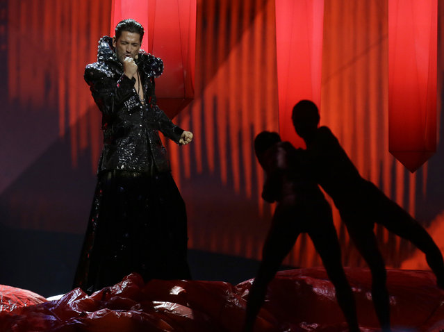 "In this Wednesday, May  15, 2013 file photo, Cezar of Romania performs his song ""It's My Life"" during a rehearsal for the second semifinal of the Eurovision Song Contest at the Malmo Arena in Malmo, Sweden. This was Dracula reborn with a techno beat, pyrotechnics and a falsetto voice – another in the competition's long list of bizarre spectacles. (Photo by Alastair Grant/AP Photo)"