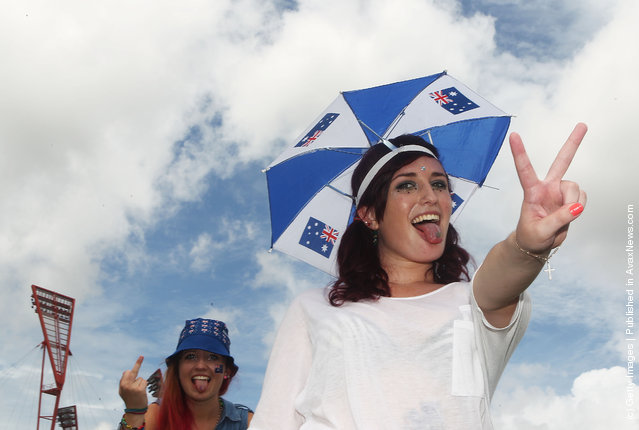 Festival goers wear Australia day attire at Big Day Out 2012 at the Sydney Showground