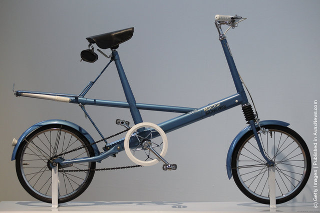 A Moulton Stowaway bicycle stands on display at the Victoria and Albert museums' new major exhibition