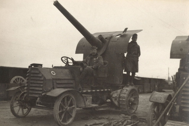 A French mobile anti-aircraft gun is pictured on the Western Front, in this 1918 handout picture. This picture is part of a previously unpublished set of World War One (WWI) images from a private collection. The pictures offer an unusual view of varied and contrasting aspects of the conflict, from high tech artillery to mobile pigeon lofts, and from officers partying in their headquarters to the grim reality of life and death in the trenches. The year 2014 marks the centenary of the start of the war. (Photo by Reuters/Archive of Modern Conflict London)