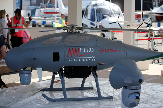 "UAV ""AW HERO"" made by Leonardo is seen before Paris Air Show at Le Bourget Airport near Paris on June 17, 2017. (Photo by Pascal Rossignol/Reuters)"