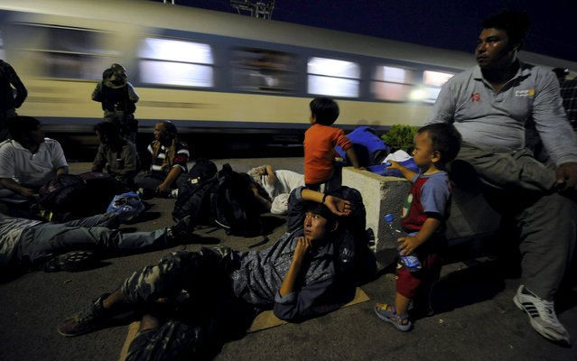Immigrants watch a train travelling to another country, as it passes through Gevgelija railway station, Macedonia August 19, 2015. (Photo by Ognen Teofilovski/Reuters)