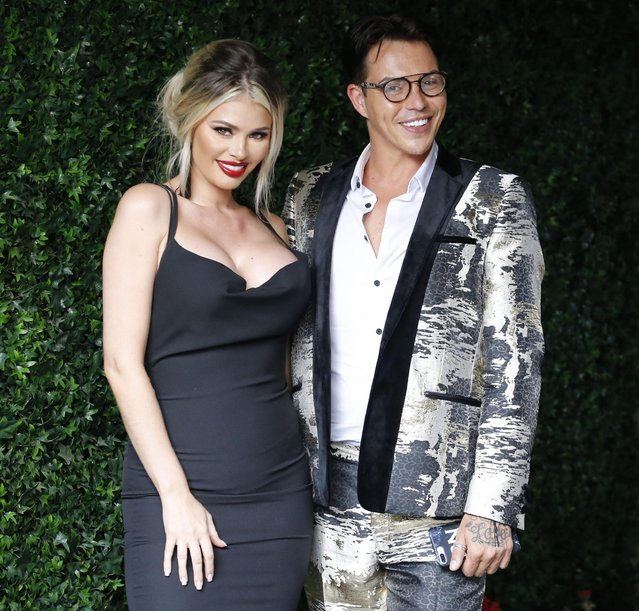 """Chloe Sims and Bobby Norris at """"The Only Way is Essex"""" TV show filming at Sugarhut, Brentwood, Essex, UK on August 23, 2017. (Photo by Splash News and Pictures)"""