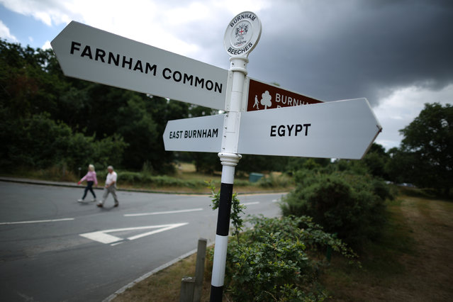 Walkers pass a road sign on July 29, 2013 in Egypt, England. Locals think the name derived from a time when there was a gypsy encampment in the area.  (Photo by Peter Macdiarmid/Getty Images)