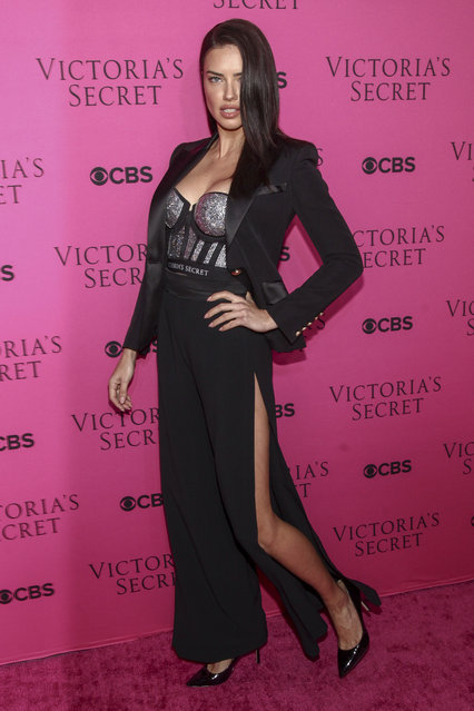 Adriana Lima attends the Victoria's Secret fashion show viewing party at Spring Studios on Tuesday, November 28, 2017, in New York. (Photo by Andy Kropa/Invision/AP Photo)
