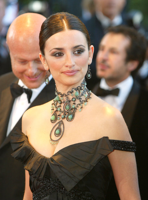 """Actress Penelope Cruz attends the opening ceremony of the 56th International Cannes Film Festival 2003 and the premiere of """"FanFan La Tulipe"""" at the Palais des Festivals May 14, 2003 in Cannes, France. (Photo by Pascal Le Segretain/Getty Images)"""
