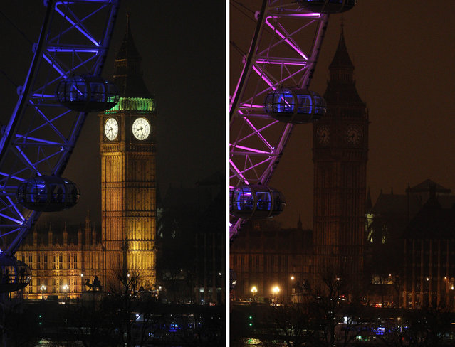 A two photo combination showing the Elizabeth Tower, which houses Big Ben at the Houses of Parliament in London, illuminated, left, and then in darkness as the lights were turned off to mark Earth Hour 2013, Saturday March 23, 2013. Earth Hour was marked worldwide at 8.30 p.m. local time and is a global call to turn off lights for 60 minutes in a bid to highlight the global climate change. (Photo by Lewis Whyld/AP Photo/PA)