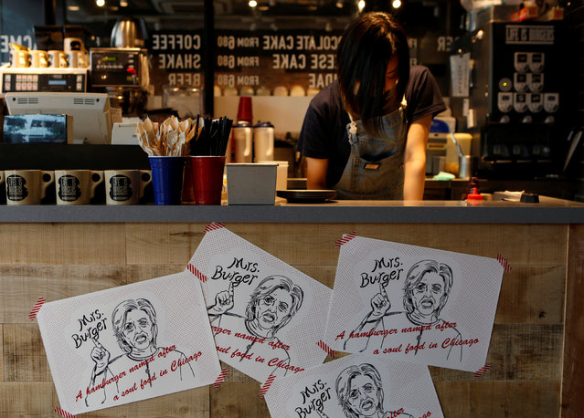 Campaign posters of Mrs. Burger featuring U.S. presidential candidate Hillary Clinton are displayed at J.S. Burgers Cafe in Tokyo, Japan October 7, 2016. (Photo by Megumi Lim/Reuters)