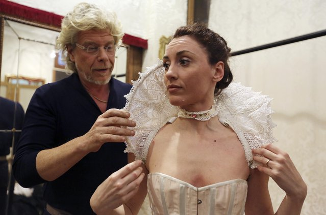 Costume designer Stefano Nicolao works on a creation in his atelier in downtown Venice January 31, 2015. (Photo by Stefano Rellandini/Reuters)