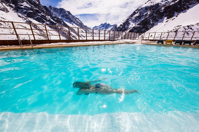 World's Greatest Swimming Pools: Ski Portillo, Chile. Expect sensory overload from the heated outdoor gem at this resort: First, the snow-capped Andes mountains rise dramatically above you in all directions. Then, there's the subdued beauty of the Laguna del Inca – a body of water tucked into a valley just beyond the pool in the shadows of the peaks. With the lifts for 18 ski trails steps away, and snow akin to the Rocky Mountains stateside, it's also one heck of an option for après-ski, with pisco sours and two hot tubs on call just two hours from Santiago. (From $1,450 per week). (Photo by Liam Doran/Blumberg)