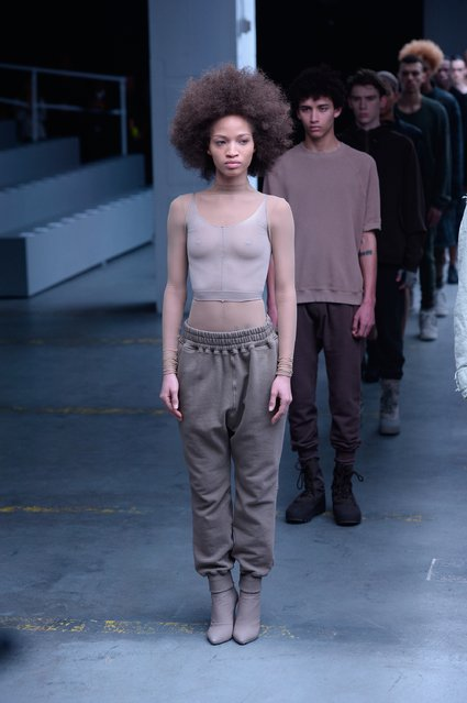 Models walk the runway at the adidas Originals x Kanye West YEEZY SEASON 1 fashion show during New York Fashion Week Fall 2015 at Skylight Clarkson Sq on February 12, 2015 in New York City. (Photo by Fernanda Calfat/Getty Images for adidas)