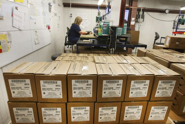 Boxes of 300 AAC Blackout rounds sit waiting to be shipped at Barnes Bullets in Mona, Utah, January 6, 2015. (Photo by George Frey/Reuters)