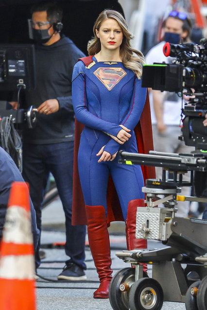 "American actress and singer Melissa Benoist is pictured in full costume on the set of ""Supergirl"" in Vancouver, Canada on April 19, 2021. The 32 year old actress sported her signature superhero ensemble while preparing to film a scene for the popular CW show. (Photo by TheImageDirect)"