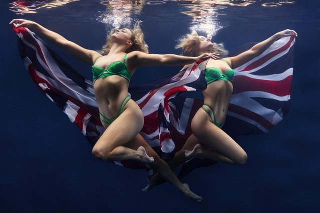 Team GB synchronised swimmers Kate Shortman and Izzy Thorpe took on an underwater fashion shoot in June 2021 before they represent Britain in the artistic swimming competition at the Tokyo Olympics next month. (Photo by Bluebella/Cavendish Press)