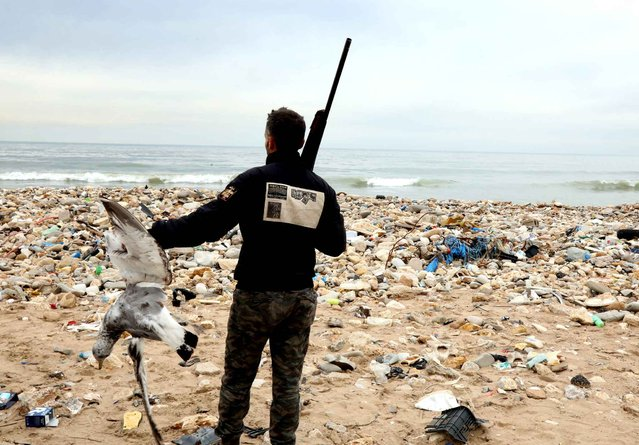 """Hunters shoot down seagulls that are attracted by the garbage at the Costa Brava dump, on January 14, 2017 near Beirut' s International Airport Costa Brava was opened in March last year as one of three """"temporary"""" tips intended to provide an interim solution after the closure of the main landfill receiving waste from Beirut The dumps were eventually intended to have waste processing facilities, but that has not happened As a result, garbage has piled up in Costa Brava, on the coastline close to the airport runways, reaching nine metres (30 feet) in some places. (Photo by Anwar Amro/AFP Photo)"""