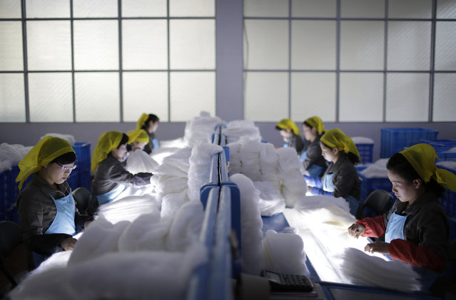 In this Friday, Januarty 6, 2017, photo, North Korean women working at the Kim Jong Suk Silk Mill check for impurities as part of the silk production process, in Pyongyang, North Korea. (Photo by Wong Maye-E/AP Photo)