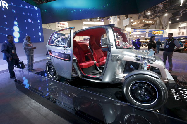 A three-seater Toyota Kikai concept car is displayed during the 2016 CES trade show in Las Vegas Saturday, January 9, 2016. (Photo by Steve Marcus/Reuters)