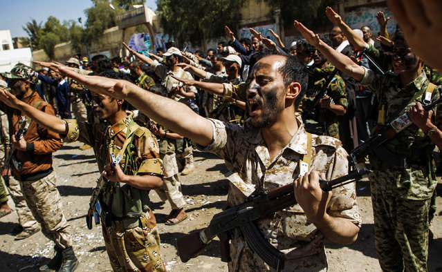 Newly recruited Houthi fighters chant slogans during a gathering in the capital Sanaa to mobilize more fighters to battlefronts to fight pro-government forces in several Yemeni cities, on February 2, 2017. (Photo by Mohammed Huwais/AFP Photo)