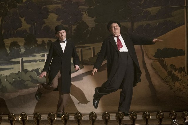 "This image released by Sony Pictures Classics shows Steve Coogan as Stan Laurel, left, and John C. Reilly as Oliver Hardy in a scene from ""Stan & Ollie"". (Photo by Sony Pictures Classics via AP Photo)"