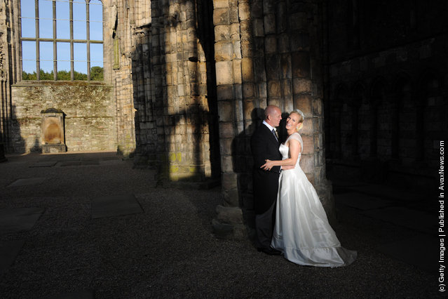 England rugby captain Mike Tindall and Zara Phillips are pictured in Holyrood Abbey, Palace of Holyroodhouse after their marriage at Canongate Kirk