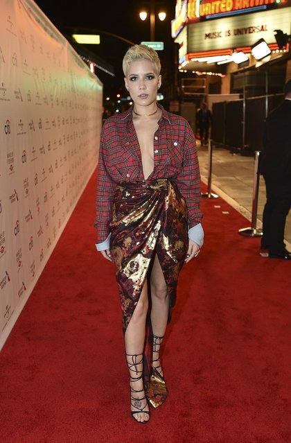Halsey arrives at Universal Music Group's 2017 Grammy After Party at The Theatre at Ace Hotel on Sunday, February 12, 2017, in Los Angeles. (Photo by Jordan Strauss/Invision for UMG/AP Images)