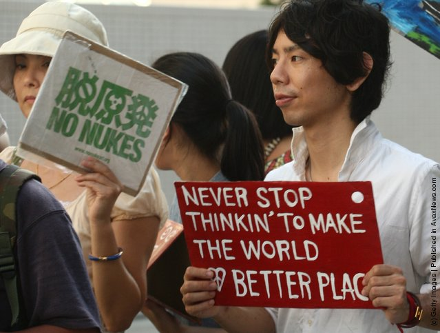 Anti-nuclear activists demonstrate during a Say to Goodbye to Nuclear Energy protest in Kobe, Japan
