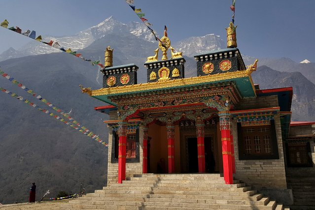 A temple is seen in the Khumbu Valley in the Everest region of Nepal April 14, 2016. (Photo by Antoni Slodkowski/Reuters)