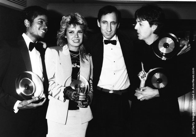 Michael Jackson (1958 - 2009), Kim Wilde, Pete Townshend and Paul McCartney at the British Record Industry Awards (BRIT awards) in London, 16th February 1983