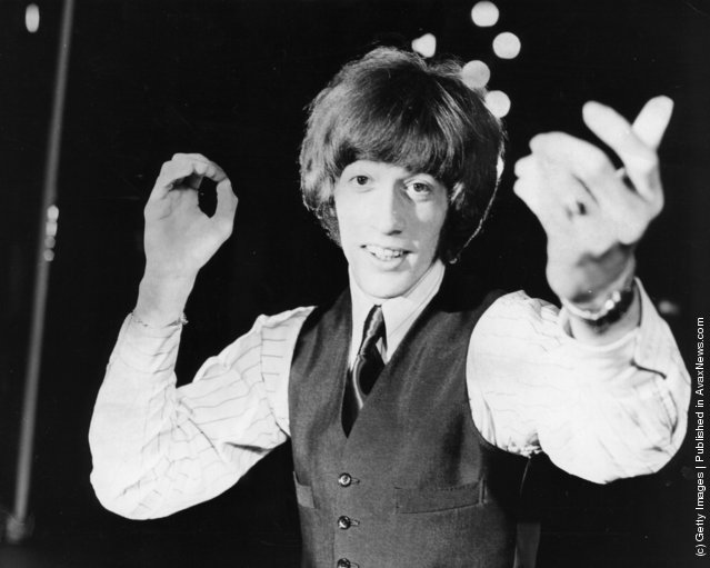Pop singer Robin Gibb, former member of the group The Bee Gees, performing at the London Palladium, 1969
