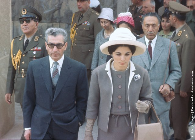 Muhammad Reza Shah Pahlavi of Iran (1919 - 1980) and his wife Empress Farah Pahlavi on a visit to the ancient ruins at Persepolis in March 1961