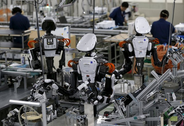 Humanoid robots work side by side with employees in the assembly line at a factory of Glory Ltd., a manufacturer of automatic change dispensers, in Kazo, north of Tokyo, Japan, July 1, 2015. (Photo by Issei Kato/Reuters)