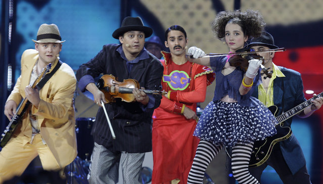 "In this Tuesday, May 12, 2009 file photo, Czech Republic's band Gipsy.cz performs during the Eurovision Song Contest's first semi-final at the Olympic Stadium in Moscow, Russia. The Roma hip-hop group scored the infamous ""nul points"". (Photo by Sergey Ponomarev/AP Photo)"